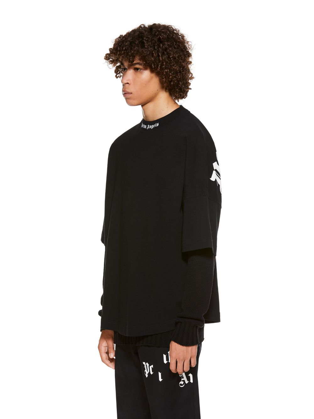 Picture of Palm Angels | CLASSIC LOGO OVER TEE BLACK WHITE