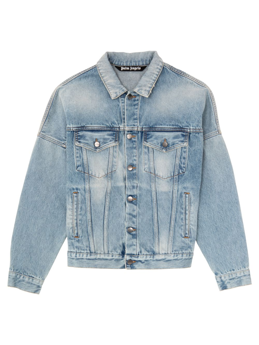 Picture of Palm Angels | Logo Over Button-Up Denim Jacket